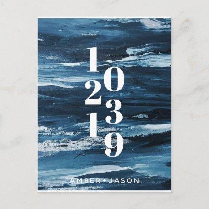 navy blue brush strokes Save the Date Announcement