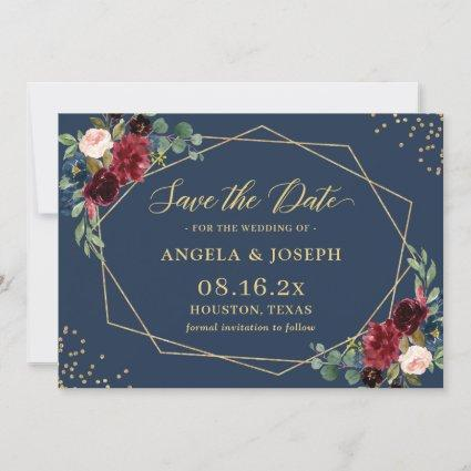 Navy Blue Burgundy Floral Gold Geometric Wedding Save The Date