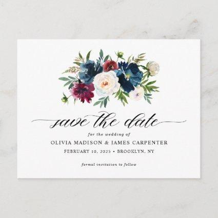 Navy Blue Burgundy Floral Wedding Save the Date Announcement