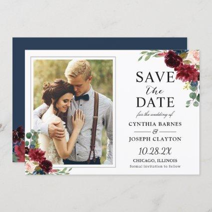 Navy Blue Burgundy Rustic Floral Photo Wedding Save The Date