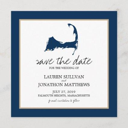 Navy Blue Cape Cod Map Wedding Save the Date