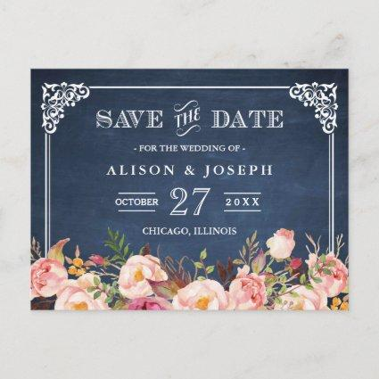 Navy Blue Chalkboard Floral Wedding Save the Date Announcements Cards