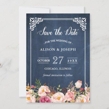 Navy Blue Chalkboard Pink Floral Save the Date