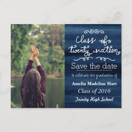 Navy Blue Class Of 2016 | Save The Date Photo Announcements Cards