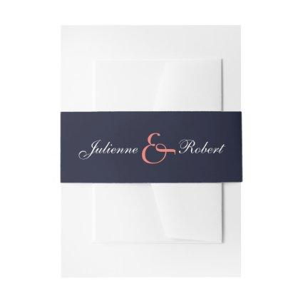 Navy Blue Coral  Wedding Invitations Belly Bands Invitation Belly Band
