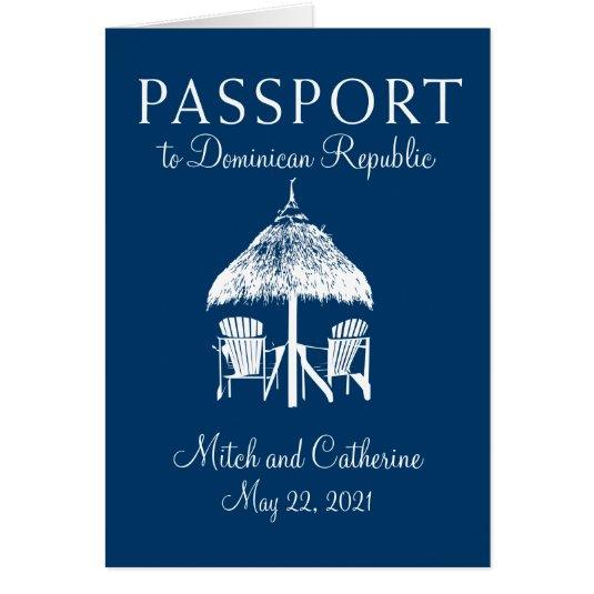 Navy Blue Dominican Republic Passport Wedding Card