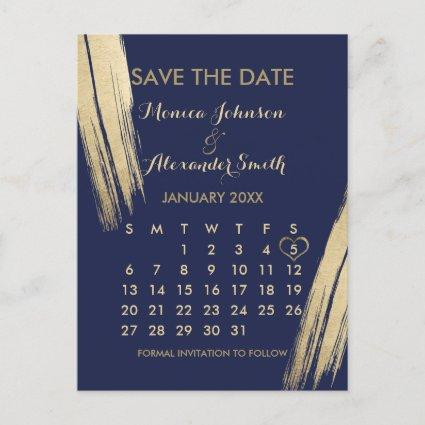 Navy Blue Gold Brushstrokes Calendar Save the Date Announcement