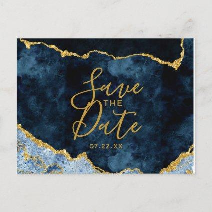 Navy Blue Gold Foil Agate Marble Save the Date Announcement