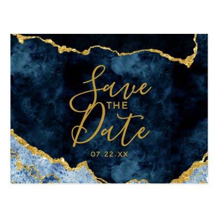Navy Blue Gold Foil Agate Marble