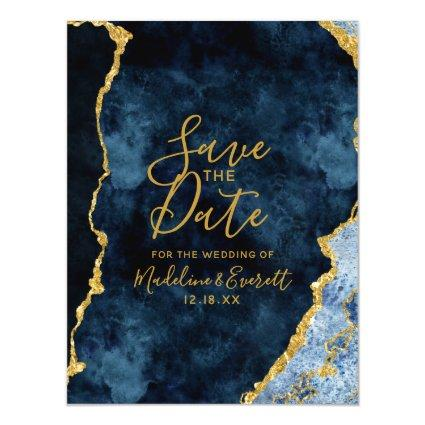 Navy Blue Gold Foil Agate Wedding Save the Date Magnetic Invitation