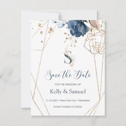 Navy blue & gold roses Save the Date