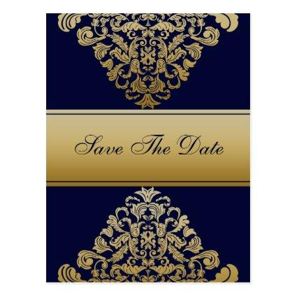 """navy blue"" gold save the date announcement"