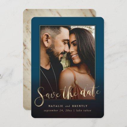 Navy Blue Gold Script & Marble Photo Overlay Save The Date