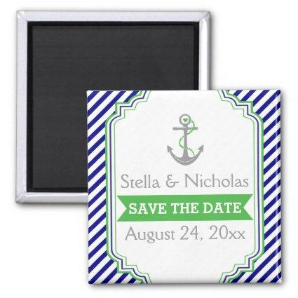 Navy blue, green nautical wedding  Magnets