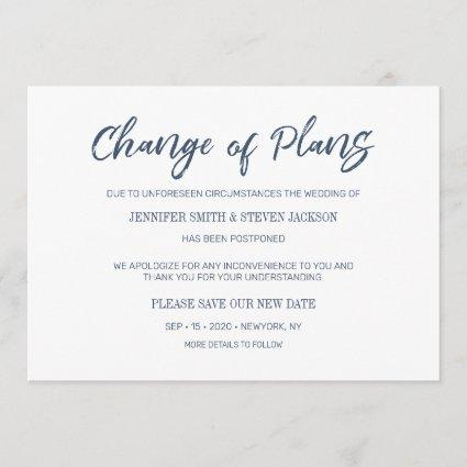 Navy Blue Handwriting Change of Plans Announcement