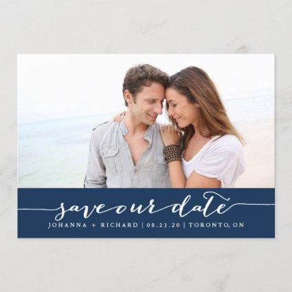 Navy Blue Handwritten Script Save the Date