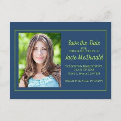 Navy Blue Lime Green Graduation Save the Date Announcement