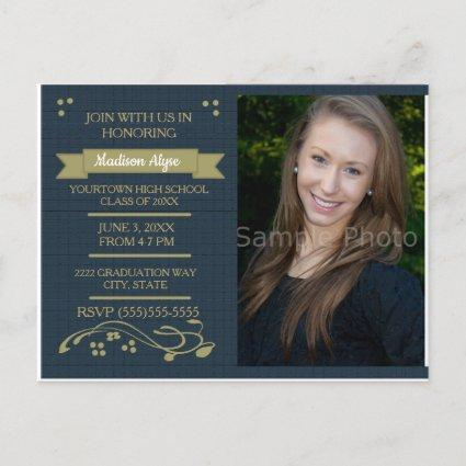 Navy Blue Moss Green Photo Graduation Party Card