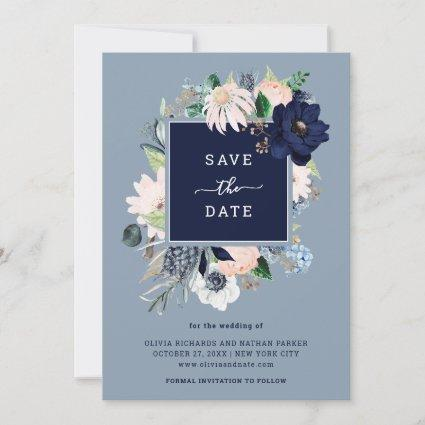 Navy Blue Nautical Floral Save The Date