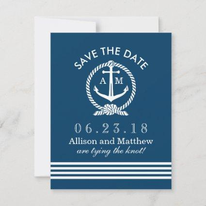 Navy Blue Nautical Stripes | Wedding Save The Date