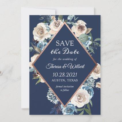 Rose Gold Navy Save The Date Cards Save The Date Cards