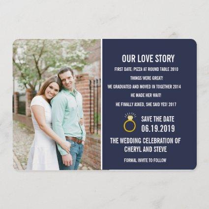 Navy Blue Our Love Story Photo Save the Dates Save The Date