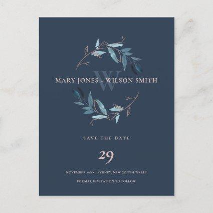 NAVY BLUE PINK ROSE FOLIAGE WREATH SAVE THE DATE ANNOUNCEMENT