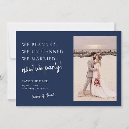 Navy Blue Post Wedding Update Save the Date