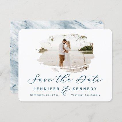 Navy Blue Romantic Brushed Frame with Photo Save The Date