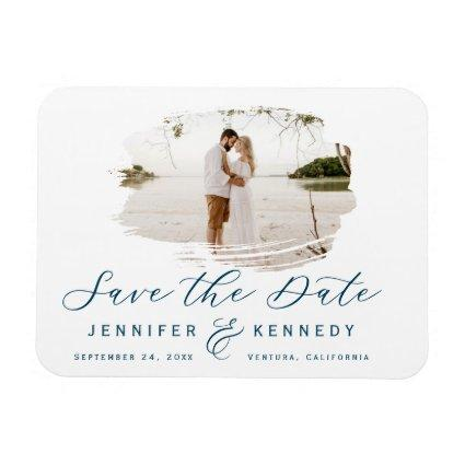 Navy Blue Romantic Brushed Photo Save The Date Magnet