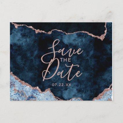 Navy Blue Rose Gold Agate Marble Save the Date Announcement
