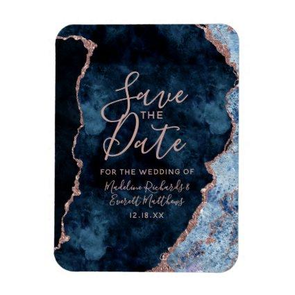Navy Blue Rose Gold Agate Save the Date Wedding Magnet