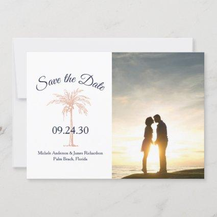 Navy Blue Rose Gold Copper Palm Tree Wedding Photo Save The Date