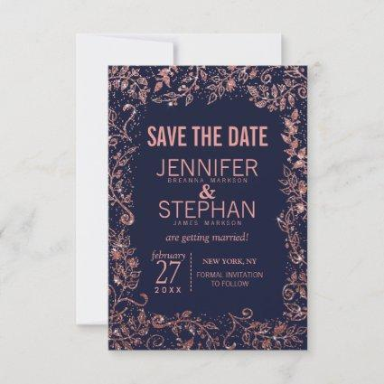 Navy Blue Rose Gold Floral Glitter Wedding Save The Date
