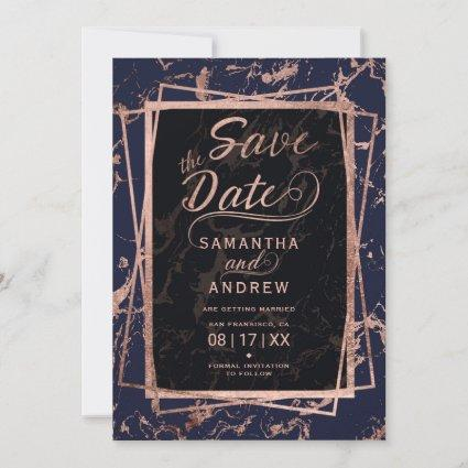 Navy blue rose gold frame marble save the date