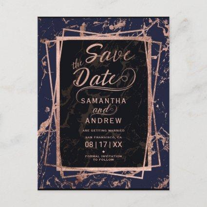 Navy blue rose gold frame marble save the date announcement