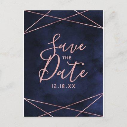Navy Blue & Rose Gold Geometric Save the Date Announcement