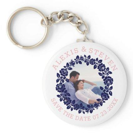 Navy blue roses floral Save the Date photo Keychain