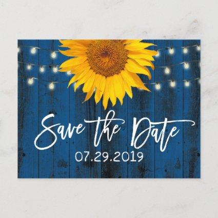 Navy Blue Rustic Sunflower Wedding Save the Date Announcement