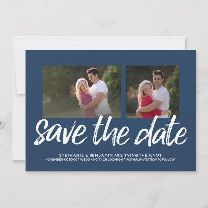 Navy Blue Save the Date - 2 Photo Modern Lettering