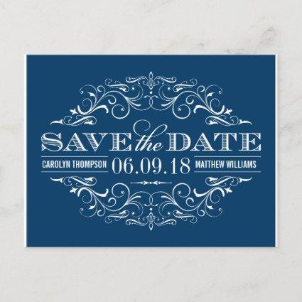 Navy Blue Save the Date | Swirl and Flourish Announcements Cards