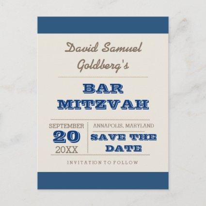 Navy Blue & Silver Bar Mitzvah  Announcements Cards