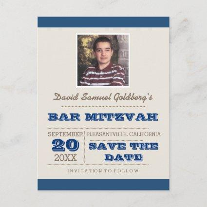 Navy Blue & Silver Bar Mitzvah Save the Date Announcement