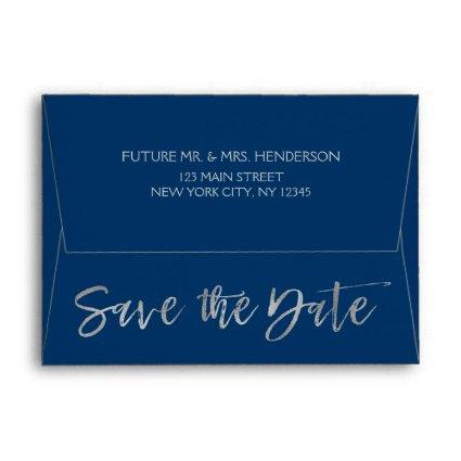 Navy Blue & Silver Grey Foil Save the Date Envelope