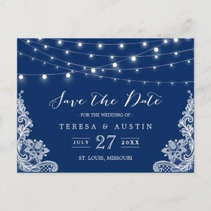 Navy Blue String Lights Elegant Lace Save the Date Announcement