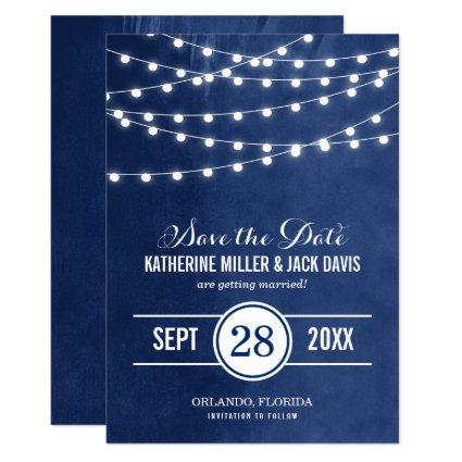 Navy Blue String Lights Save the Date Announcement