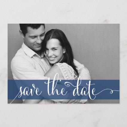 Navy Blue Stripes Save the Date Photo Announcement