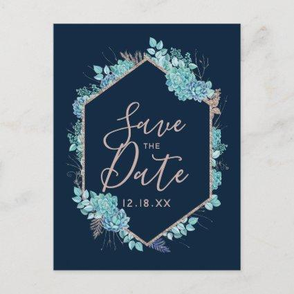 Navy Blue Succulents & Rose Gold Save the Date Announcement