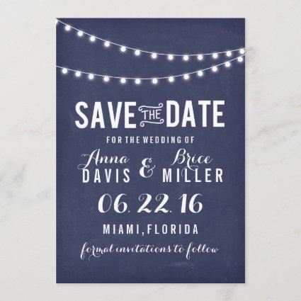 Navy Blue Summer String Light Save The Date