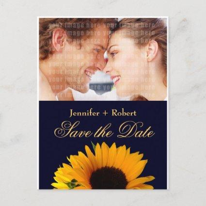 Navy Blue Sunflower Save the Date (yellow back) Announcement